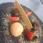 Crackling chocolate mousse, orange and chocolate crumb, own very own carrot and orange sorbet